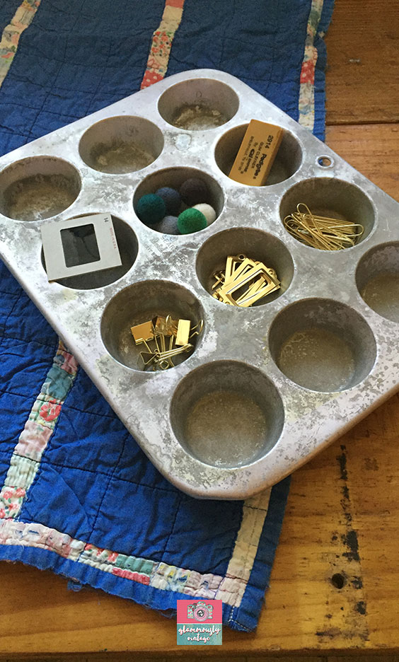 Muffin Tins.... Part of My 12 Ways To Use Vintage In My Office Blog Post!