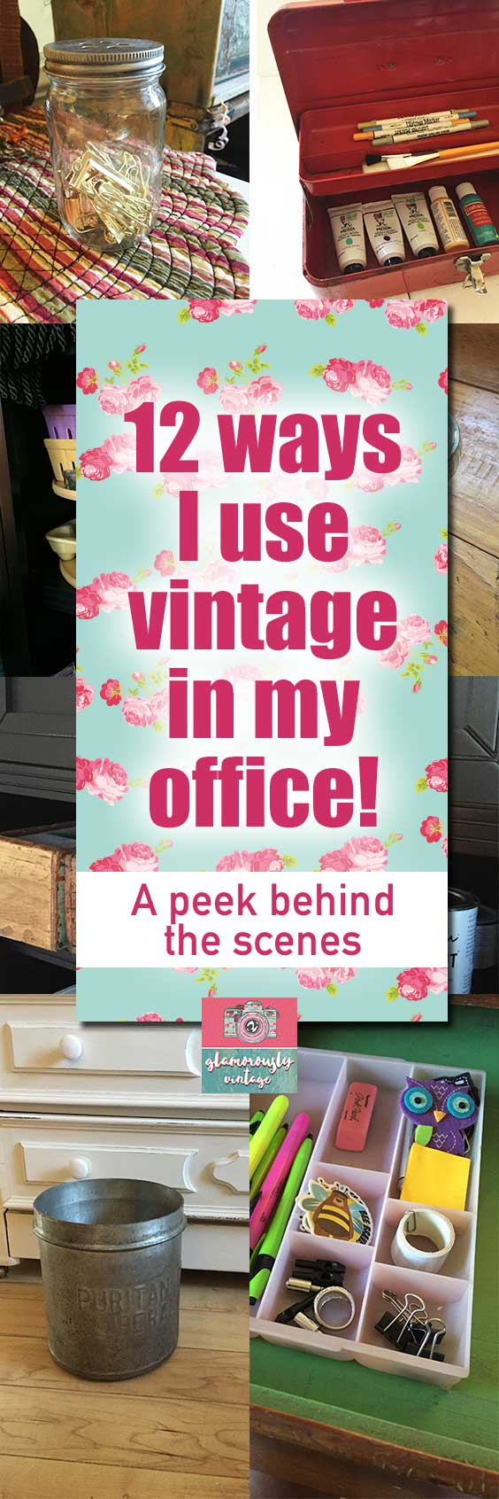 12 Ways I Use Vintage In My Office | Today I am going to be talking about how I use vintage items in my home office! Now, I know this look is not for everyone, but I love being surrounded by old items that are well made and functional too!