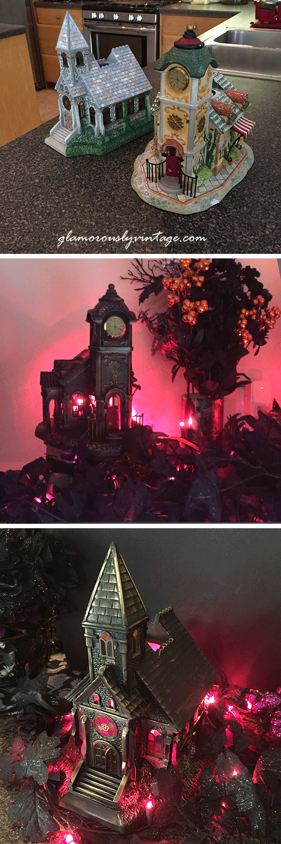 Spooky Upcycled Halloween Houses | I was cruising Pinterest one day and saw the neatest Halloween decorating idea, use those old chipped up ceramic houses and upcycle them to make spooky Halloween Houses!