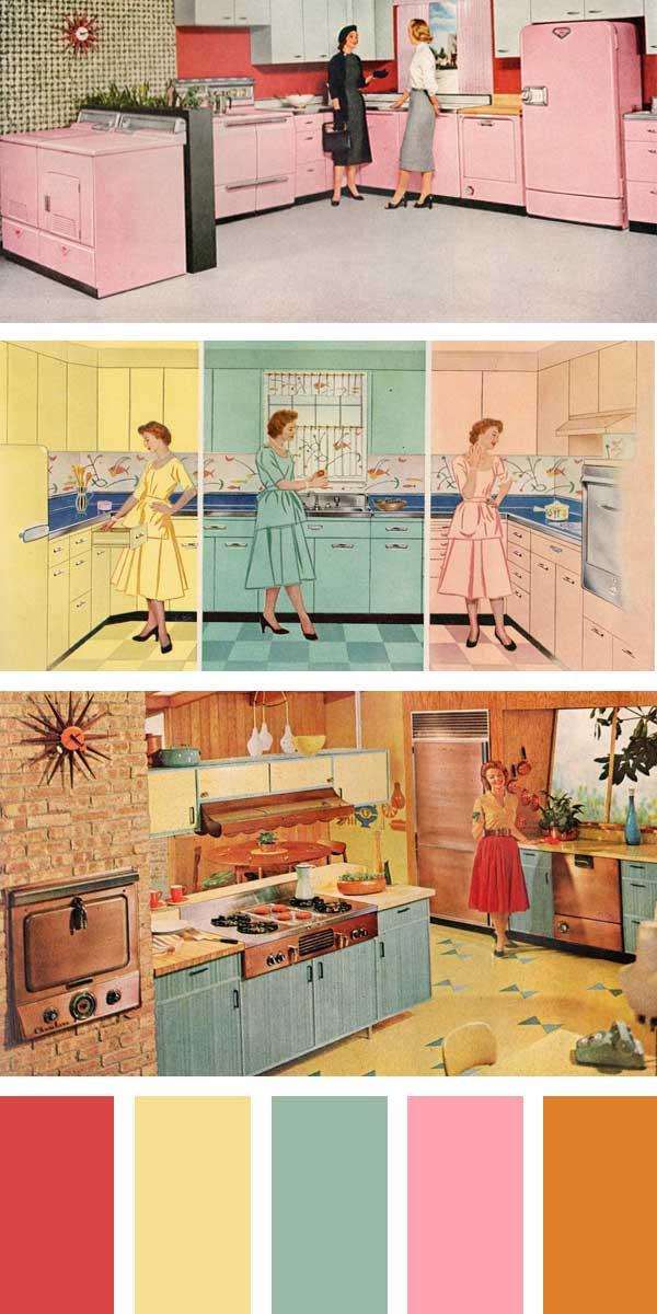 1950s Kitchen Colors - Petal Pink, Turquoise Green, Stratford Yellow, Canary Yellow, Cadet Blue, Woodtone Brown, Sherwood Green