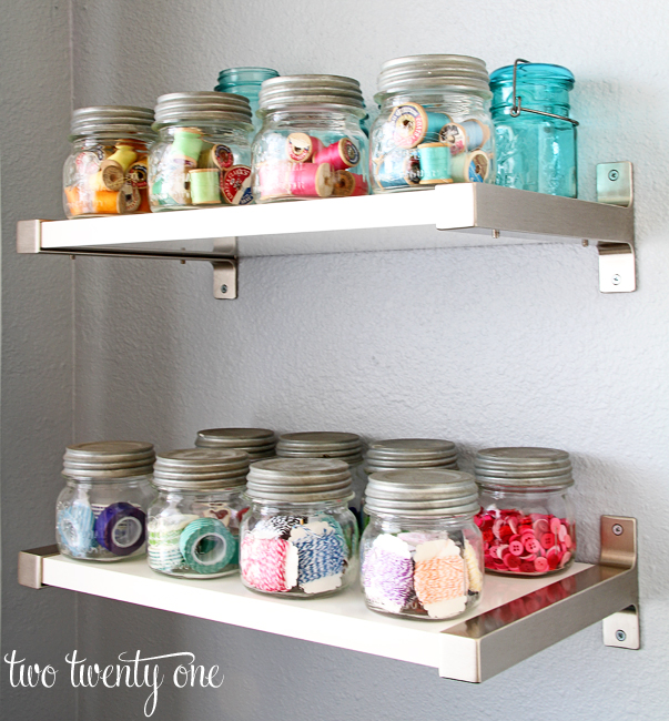 Two Twenty One Ball Jars - An Eclectic Office or Craft Room - 15 Great Examples of Fun and Vintage Office Organizing Ideas