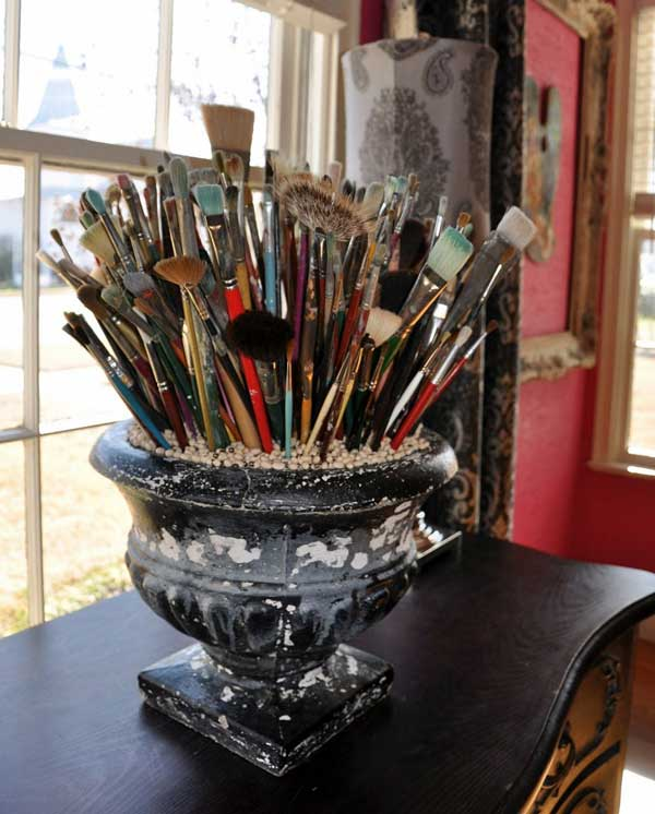 Big Urn Paintbrushes - An Eclectic Office or Craft Room - 15 Great Examples of Fun and Vintage Office Organizing Ideas