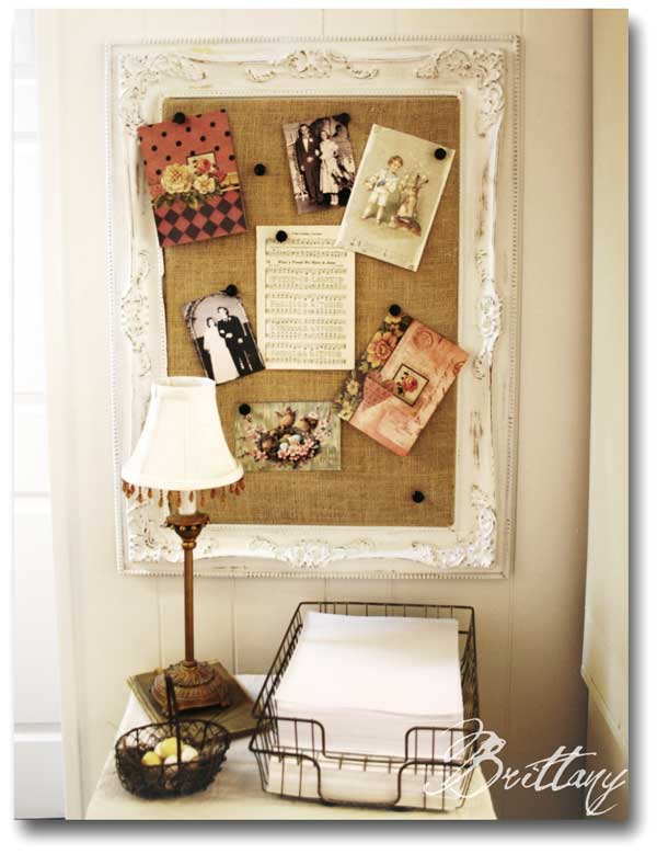 Cork Board - Brittany Fogleman The Painted Parsonage - An Eclectic Office or Craft Room - 15 Great Examples of Fun and Vintage Office Organizing Ideas