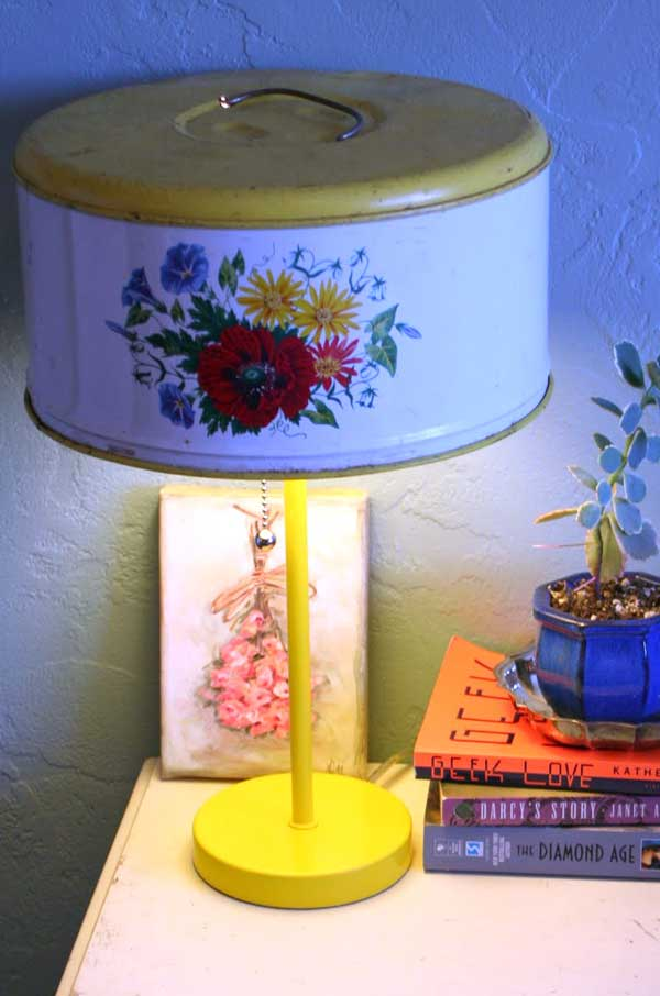 Cake Cover Lamp - An Eclectic Office or Craft Room - 15 Great Examples of Fun and Vintage Office Organizing Ideas