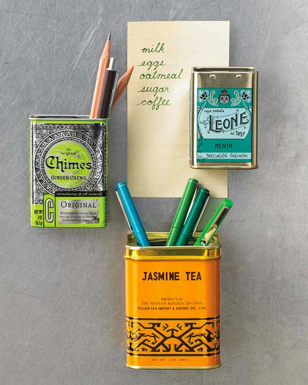 Martha Stewart Container Tins - An Eclectic Office or Craft Room - 15 Great Examples of Fun and Vintage Office Organizing Ideas