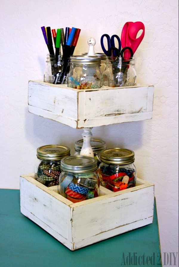 Mason Jar Double Decker, Addicted To DIY - An Eclectic Office or Craft Room - 15 Great Examples of Fun and Vintage Office Organizing Ideas