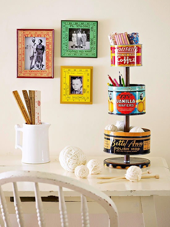 Stacked Tin Containers, Better Homes and Gardens - An Eclectic Office or Craft Room - 15 Great Examples of Fun and Vintage Office Organizing Ideas
